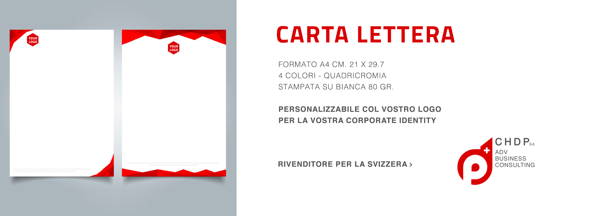 Carta da letetra personalizzabili per la tua azienda in Svizzera
