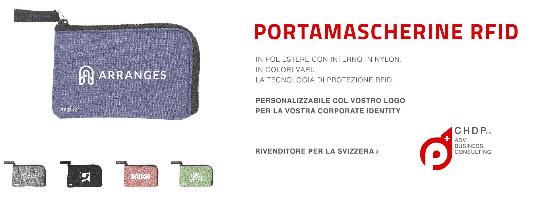 Portamascherine RFID. In poliestere con interno in nylon